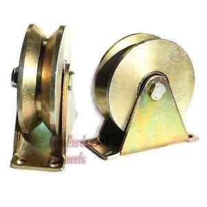 """2 Pack 2.5"""" inch Sliding Gate Roller Steel V Type Wheel Track Rail w/ Bracket"""