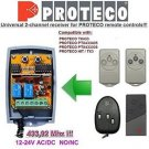PROTECO TX433, PTX433405 Compatible 2-channel Receiver 12-24V AC/DC 433.92MHz