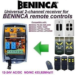 BENINCA T2WK, T4WK, TO.GO Compatible 2-channel Receiver 12-24V AC/DC 433.92MHz