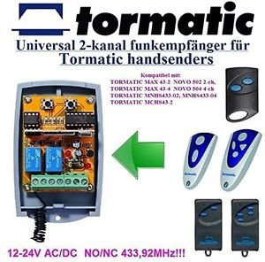 Tormatic MNHS433-02/04 Compatible 2-channel Receiver 12-24V NONC AC/DC 433.92MHz