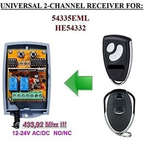 EML 54335EML, HE54332 Compatible 2-channel Receiver 12-24V AC/DC NO/NC 433.92MHz