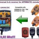 APRIMATIC Compatible 2-channel Receiver 12-24VAC/DC 433.92MHz TR2/TR4/TM4 Remote