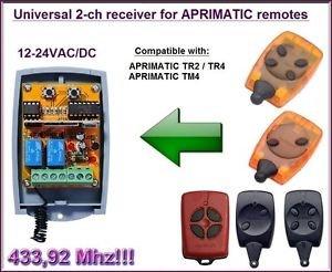 APRIMATIC Compatible 2-channel Receiver 12-24VAC/DC 433.92MHz TR2/TR4/TM4 Remote