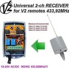 V2 Wally U 1/2/3/4 Compatible 2-channel Receiver 12-24V NO/NC AC/DC 433.92MHz