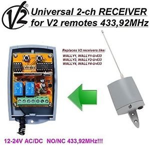 V2 Wally U 1/2/3/4 Compatible 2-channel Receiver 12-24V NO/NC AC/DC 433.92MHz