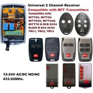 CY402 433 MHz 12/24V BFT Universal 2 Channel Receiver Remote Control w/ Antenna