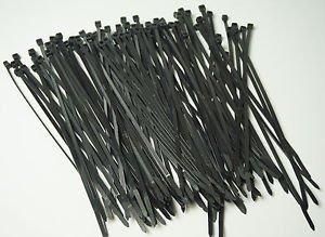 "Black Ty Wraps 150 PC. 8"" Long UV Cable Zip Ties 50lbs Heavy Duty TYWRP Wire Tie"