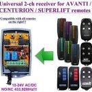 AVANTI / CENTURION Compatible 2-channel Receiver 12-24 VAC/VDC 433.92MHz Remote
