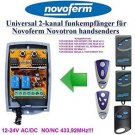 Novoferm MAX43-4, MNHS433-2 Compatible 2-channel Receiver 12-24V AC/DC 433.92MHz