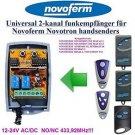 Novoferm MNHS433-4 MCHS43-2 Compatible 2-channel Receiver 12-24V AC/DC 433.92MHz