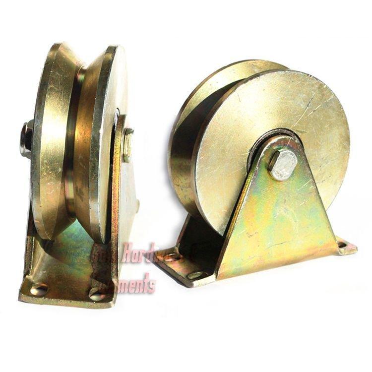 """2 Pack 4"""" inch Sliding Gate Roller Steel V Type Wheel Track Rail Pull w/ Bracket"""