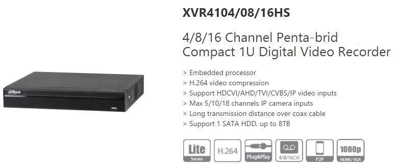 Dahua XVR41 4/8/16 Channel 5in1 DVR 1080P XVR/AHD/TVI/CVI/IP/CVBS Video Recorder