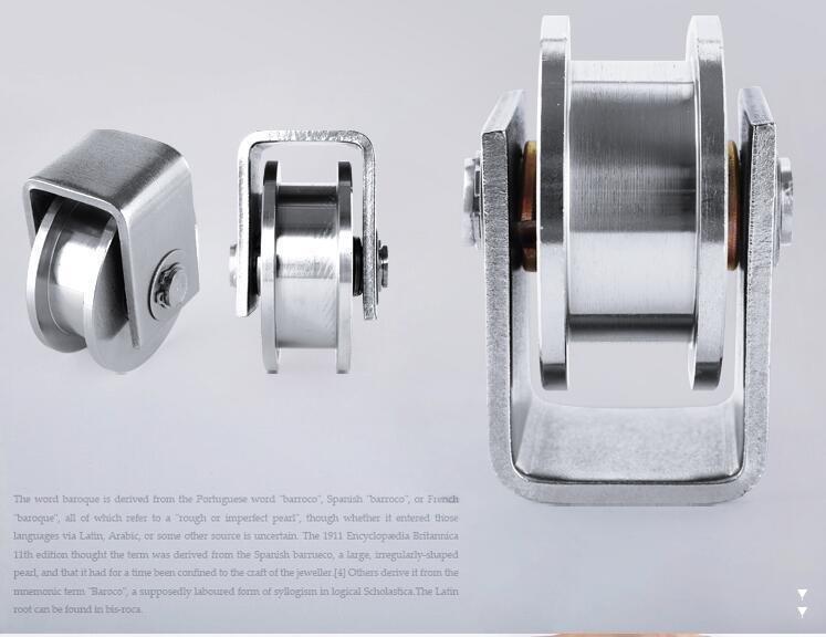 """2 Pack 3.5""""inch Sliding Gate Roller 304SS H Groove Type Wheel Track Rail Bracket"""