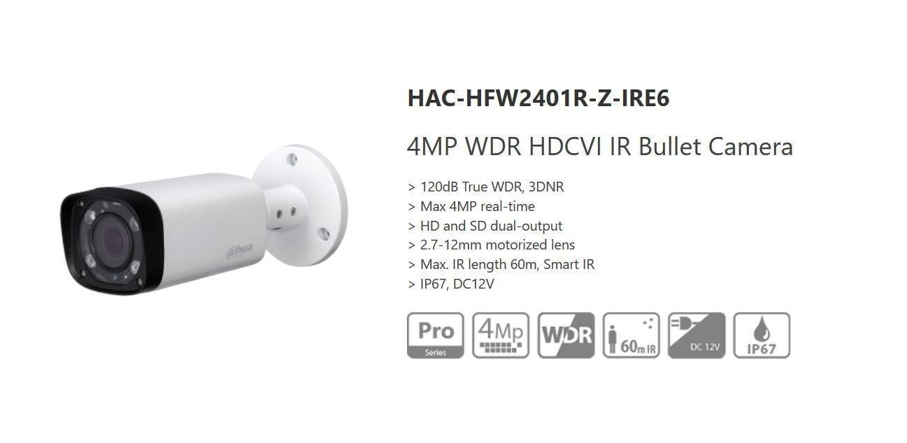 Dahua 4MP 3DNR WDR HDCVI Smart IR 60m Bullet Security Camera Waterproof HD/SD UL