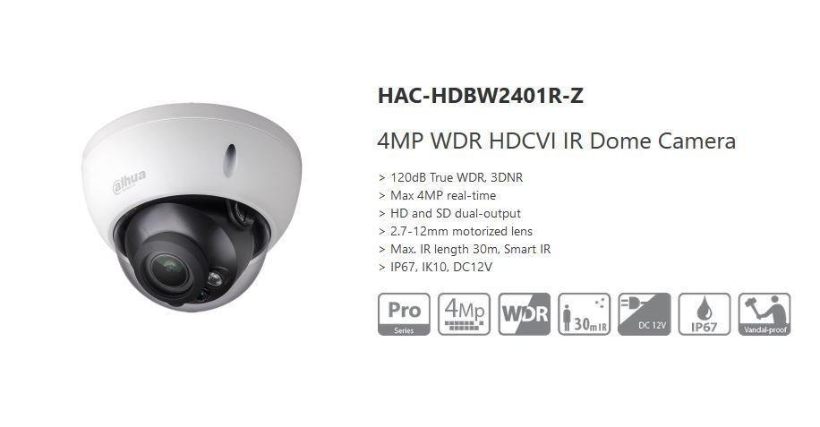 Dahua 4MP WDR 3DNR HDCVI Smart IR Security Dome Camera HD/SD Water/Vandal Proof