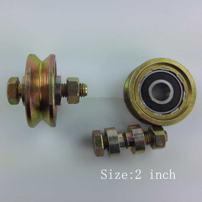 """2 Pack 2"""" Sliding Gate Roller V Groove Wheel w/ 6201RS Bearing M10X45 Bolts"""