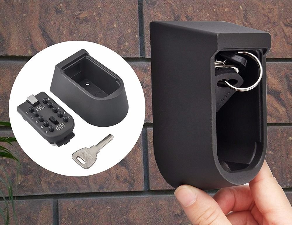 Wall Mounted Push Button Key Lock Box Exterior Waterproof Cover Impact Resistant
