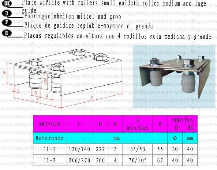 Rongrolling 1L-1 Sliding Gate Upper Guide Nylon Roller w/ Bracket M35X53 Screw