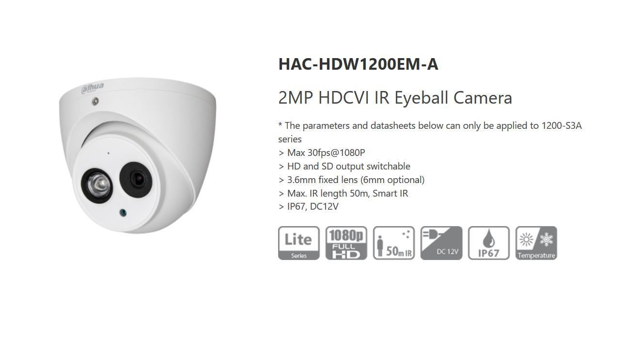 Dahua 2MP Audio Mic DWDR HDCVI Smart IR 50m Eyeball Security Camera HD/SD IP67