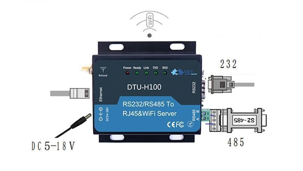 DTU HF-H100 5-18V WIFI Serial Server RS232/RS485 to RJ45&WIFI Converter Ethernet