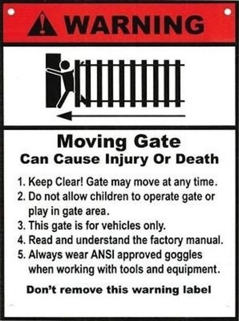 "Aleko 2-Pack WRG Warning Poster Moving Gate Plastic Sign 8"" x 12"" Indoor/Outdoor"