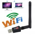 600Mbps Dual Band 2.4 Wireless USB WiFi Network Adapter 802.11g/b/n AC w/Antenna