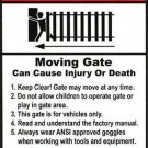 "Lockmaster 2-Pack Warning Poster Moving Gate Plastic Sign 8 x 12"" Indoor/Outdoor"
