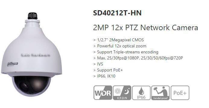 Dahua SD40212T-HN Ceiling 12X Zoom IP PTZ Camera POE Audio Interface Waterproof