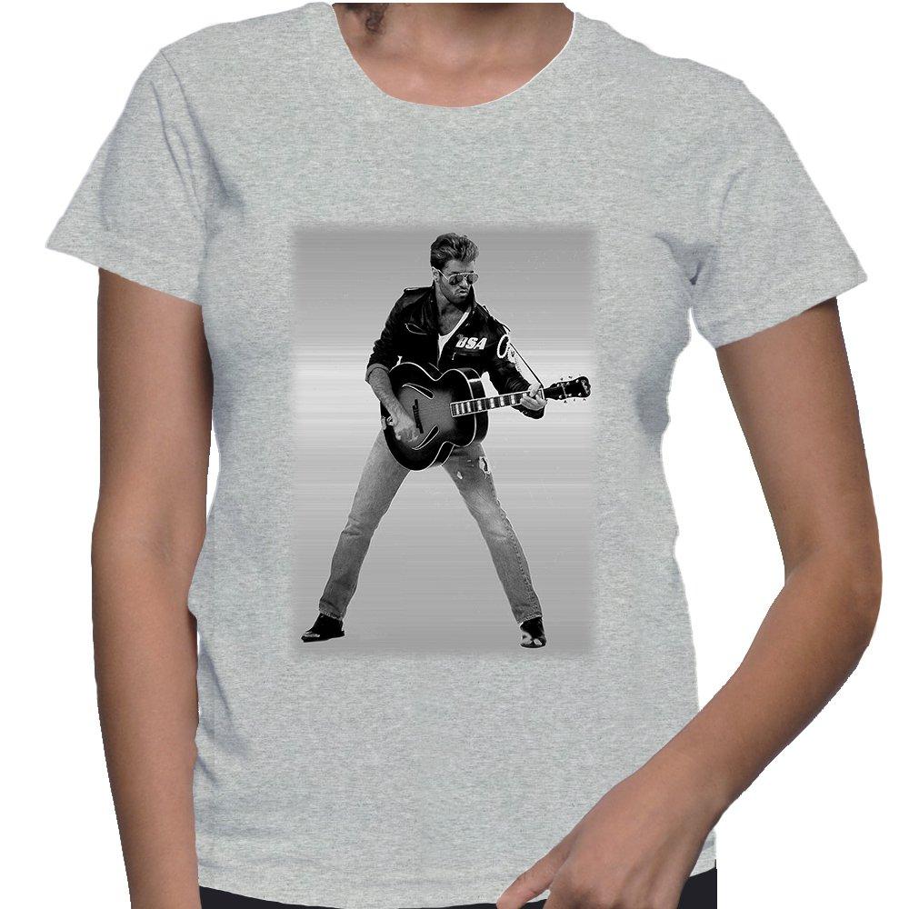 George Michael Tribute Tees Choose Life Careless Whisper Ash Grey Women's T Shirt Small Size