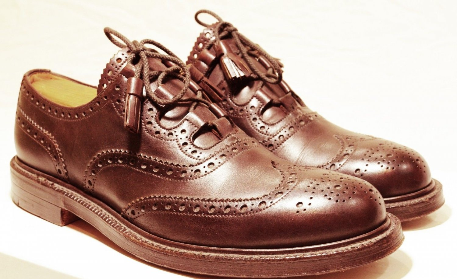 UK Size 12 Ghillie Brogues Kilt Leather Shoes Stitched Leather Sole with long lasses