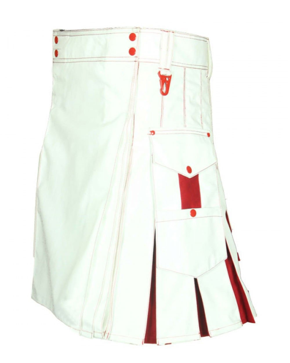 Size 38 White & Red Hybrid Cotton Kilt with Cargo Pockets Chrome Utility Kilt