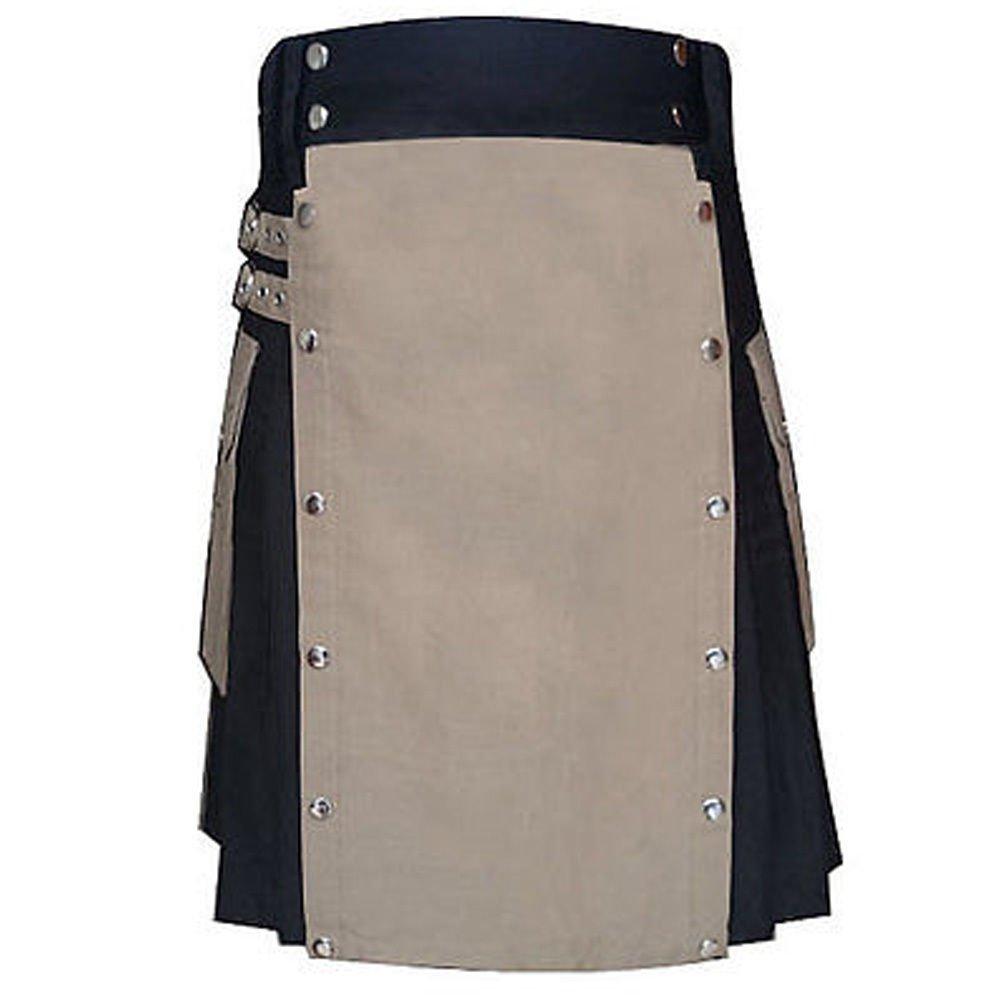 Size 36 Black & Khaki Hybrid Cotton Kilt with Cargo Pockets Utility Kilt