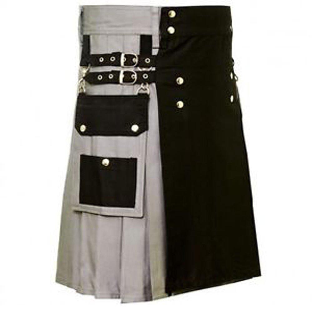 Size 38 Black & Gray Hybrid Cotton Kilt with Cargo Pockets Utility Kilt
