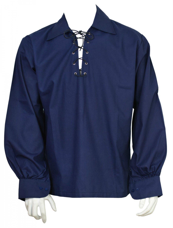 4XL Blue Traditional Men's Scottish Jacobean Jacobite Ghillie Shirt  Kilt Shirt