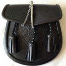 Men Scottish Black Celtic Kilt Sporran With Metal Thistle Pin