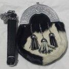 Scottish White Black RABBIT FUR Skin 3 Tassel Leather Kilt SPORRAN POUCH