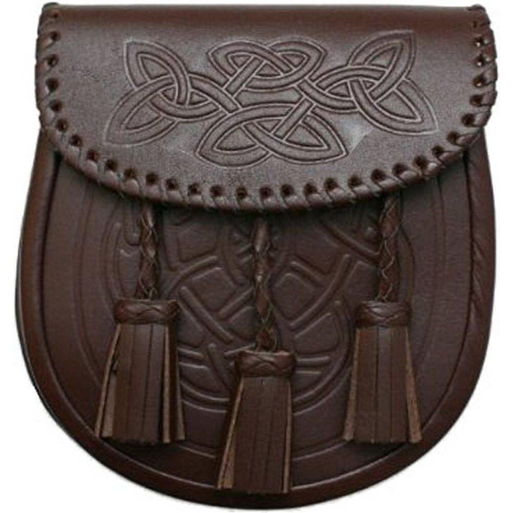 Men Embossed Scottish Brown Celtic Kilt Sporran With Metal Thistle Loin Rampant