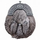 Scottish Gray RABBIT FUR 3 Tassel Leather Kilt SPORRAN & Belt