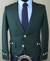 TI:Green Pure Wool Handmade Scottish Argyle Traditional Kilt Jacket Size 52