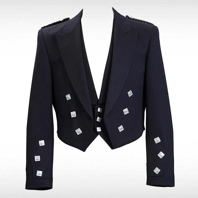 Sizes 38 Prince Charlie Black Scottish Kilt Jacket W Waistcoat/Vest
