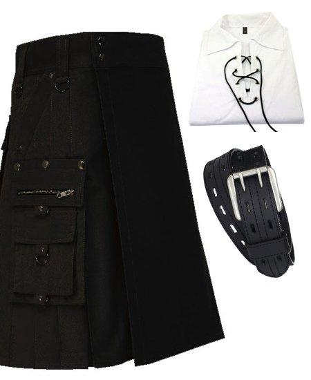 Black Pure Cotton Gothic Style Utility Kilt for Active Men
