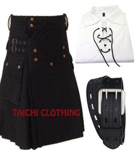 Active Men Black Cotton Prime Utility Kilt Custom Size 40
