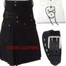Active Men Black Cotton Utility Kilt and Two Pronged Kilt leather belt