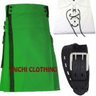 42 Size NETTED Men's Scottish Highland Active Green Net Pocket Kilt 100% Cotton