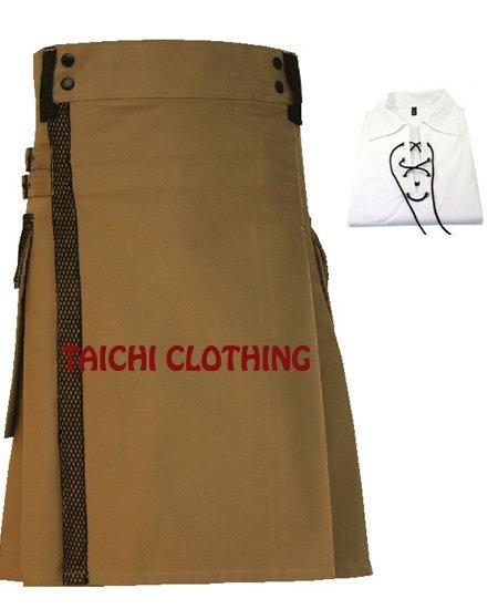 50 Size Men's Scottish Highland Modern Pocket Brown Net Utility Kilt 100% Cotton