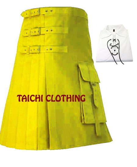 Yellow Brutal Grace Kilt for Active Men Scottish Deluxe Utility kilt Custom Sizes