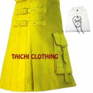 48 Size Yellow Brutal Grace Kilt for Active Men Scottish Deluxe Utility kilt Custom Sizes