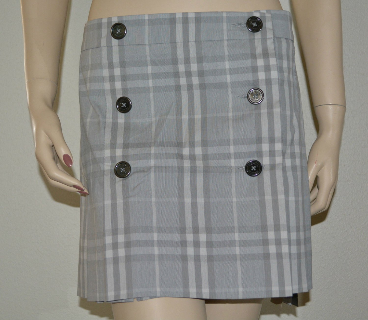 Taichi CHECK PLEATED KILT SKIRT  WITH BUTTON FRONT