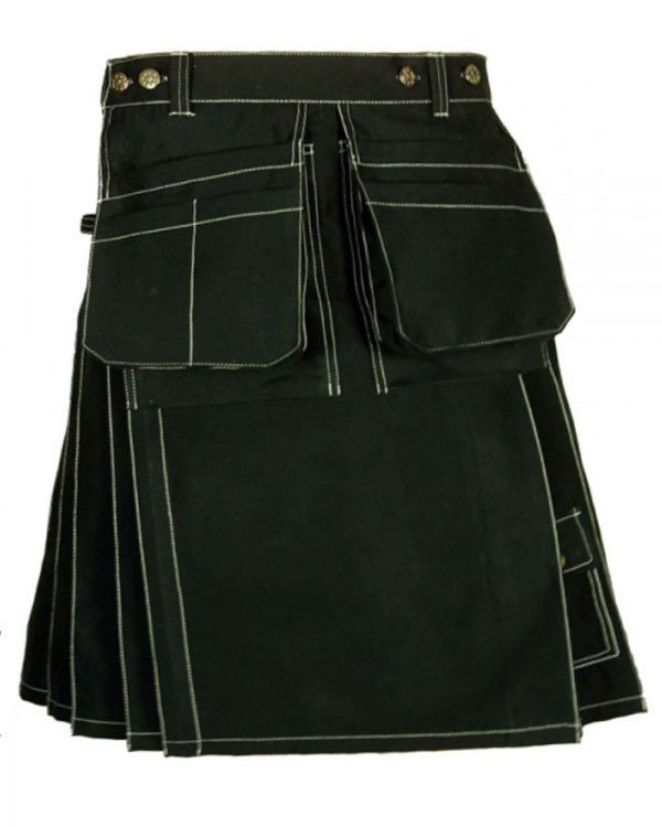 46 Size Scottish black Cotton front pocket Utility Kilt Unisex Adult Handmade Custommade