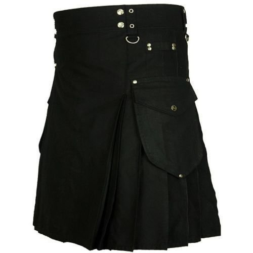 34 Size Men's Black Cotton Modern Cargo Pockets Prime Utility Kilt